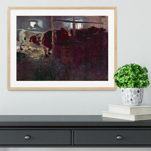Cows in Stall by Klimt Framed Print - Canvas Art Rocks - 3