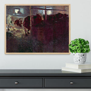 Cows in Stall by Klimt Framed Print - Canvas Art Rocks - 4