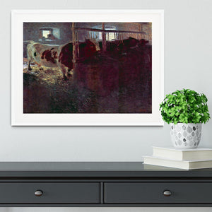 Cows in Stall by Klimt Framed Print - Canvas Art Rocks - 5