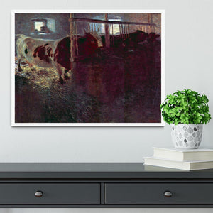Cows in Stall by Klimt Framed Print - Canvas Art Rocks -6