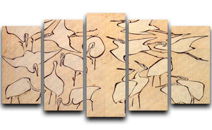 Cranes by Hokusai 5 Split Panel Canvas  - Canvas Art Rocks - 1