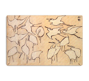 Cranes by Hokusai HD Metal Print