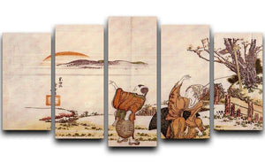 Crazy poetry by Hokusai 5 Split Panel Canvas  - Canvas Art Rocks - 1