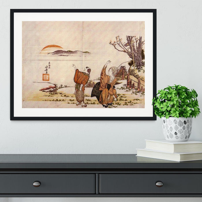 Crazy poetry by Hokusai Framed Print