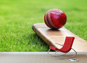 Cricket ball resting on a cricket bat Wall Mural Wallpaper - Canvas Art Rocks - 2