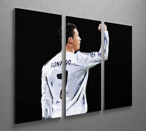 Cristiano Ronaldo 3 Split Panel Canvas Print - Canvas Art Rocks - 2