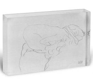 Crouching to right by Klimt Acrylic Block - Canvas Art Rocks - 1