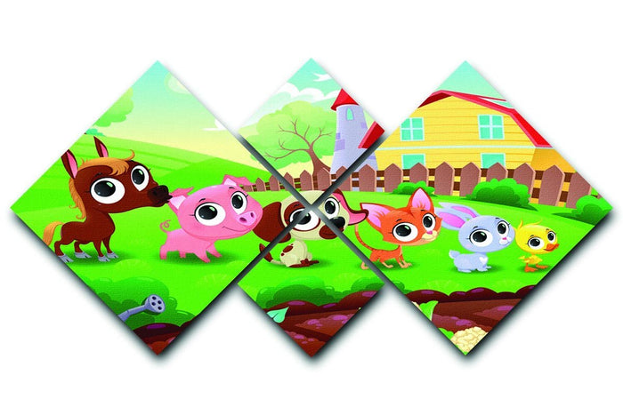Cute Littest farm animals in the garden 4 Square Multi Panel Canvas