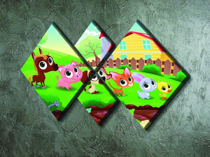 Cute Littest farm animals in the garden 4 Square Multi Panel Canvas - Canvas Art Rocks - 2