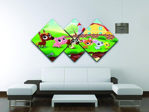 Cute Littest farm animals in the garden 4 Square Multi Panel Canvas - Canvas Art Rocks - 3