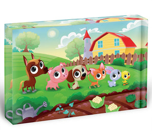 Cute Littest farm animals in the garden Acrylic Block - Canvas Art Rocks - 1