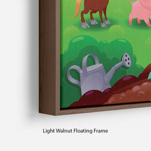 Cute Littest farm animals in the garden Floating Frame Canvas