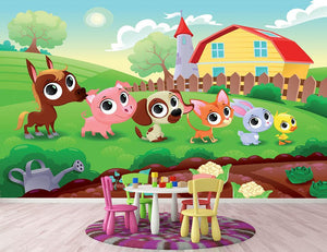 Cute Littest farm animals in the garden Wall Mural Wallpaper - Canvas Art Rocks - 2