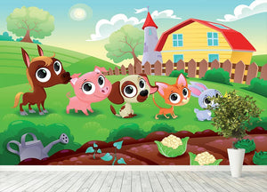 Cute Littest farm animals in the garden Wall Mural Wallpaper - Canvas Art Rocks - 4
