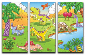 Cute dinosaurs in prehistoric scene 3 Split Panel Canvas Print - Canvas Art Rocks - 1