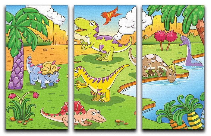 Cute dinosaurs in prehistoric scene 3 Split Panel Canvas Print