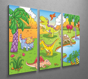 Cute dinosaurs in prehistoric scene 3 Split Panel Canvas Print - Canvas Art Rocks - 2