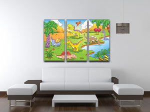 Cute dinosaurs in prehistoric scene 3 Split Panel Canvas Print - Canvas Art Rocks - 3