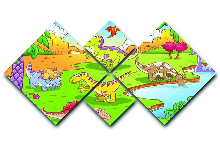 Cute dinosaurs in prehistoric scene 4 Square Multi Panel Canvas