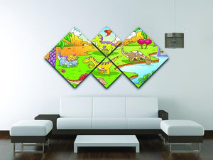 Cute dinosaurs in prehistoric scene 4 Square Multi Panel Canvas - Canvas Art Rocks - 3