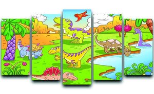 Cute dinosaurs in prehistoric scene 5 Split Panel Canvas  - Canvas Art Rocks - 1