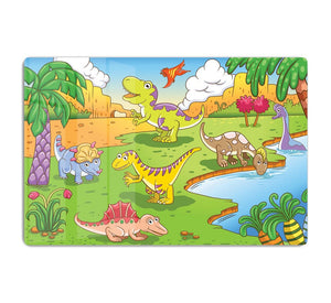 Cute dinosaurs in prehistoric scene HD Metal Print