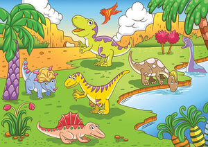 Cute dinosaurs in prehistoric scene Wall Mural Wallpaper - Canvas Art Rocks - 1