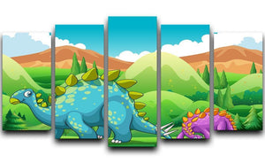 Cute dinosaurs walking 5 Split Panel Canvas  - Canvas Art Rocks - 1
