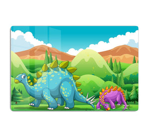 Cute dinosaurs walking HD Metal Print