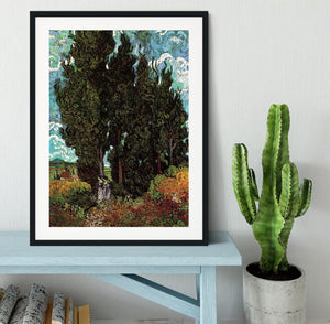 Cypresses with Two Female Figures by Van Gogh Framed Print - Canvas Art Rocks - 1