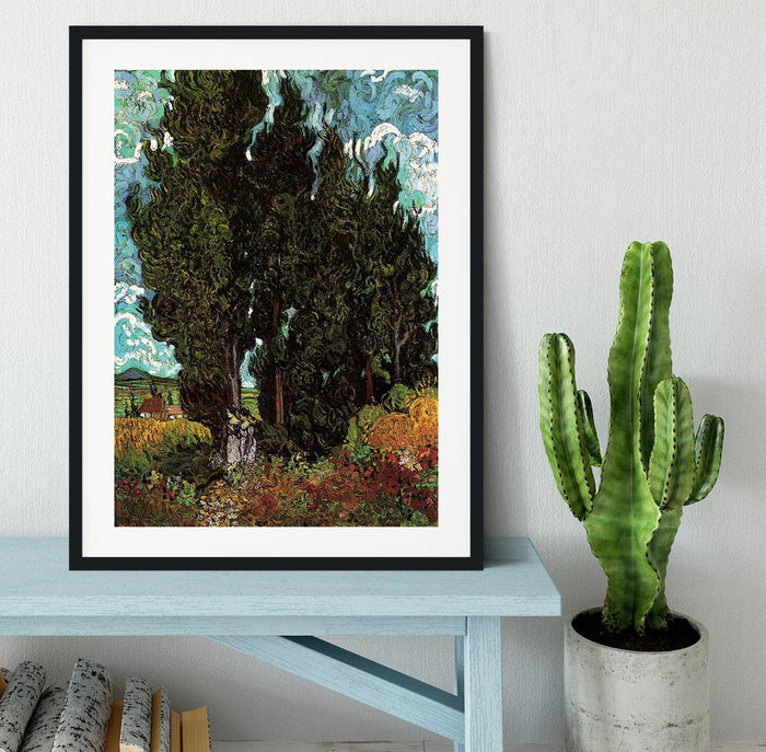 Cypresses with Two Female Figures by Van Gogh Framed Print