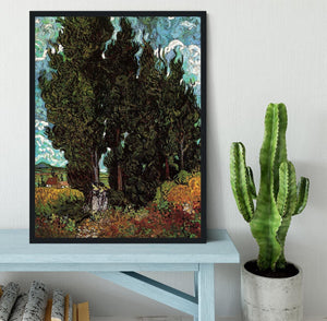 Cypresses with Two Female Figures by Van Gogh Framed Print - Canvas Art Rocks - 2