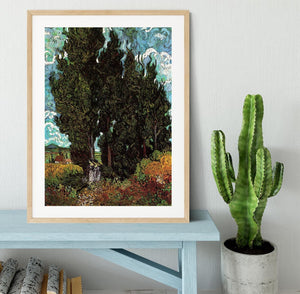 Cypresses with Two Female Figures by Van Gogh Framed Print - Canvas Art Rocks - 3