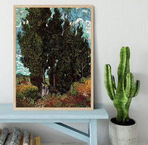 Cypresses with Two Female Figures by Van Gogh Framed Print - Canvas Art Rocks - 4