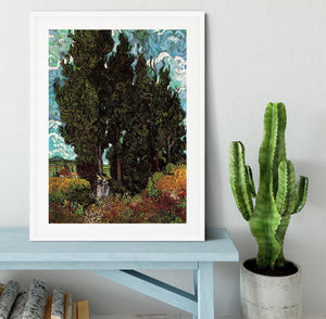 Cypresses with Two Female Figures by Van Gogh Framed Print - Canvas Art Rocks - 5