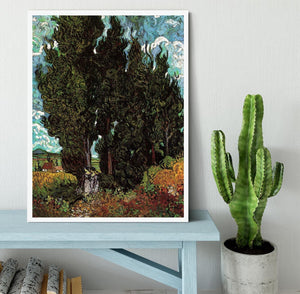 Cypresses with Two Female Figures by Van Gogh Framed Print - Canvas Art Rocks -6