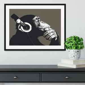 DJ Monkey Headphones Framed Print - Canvas Art Rocks - 1