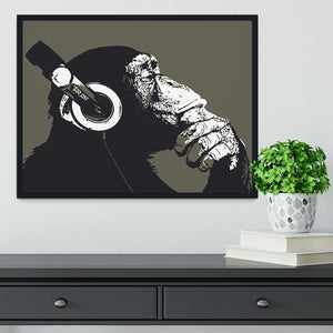 DJ Monkey Headphones Framed Print - Canvas Art Rocks - 2