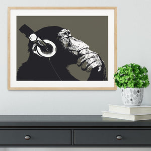 DJ Monkey Headphones Framed Print - Canvas Art Rocks - 3