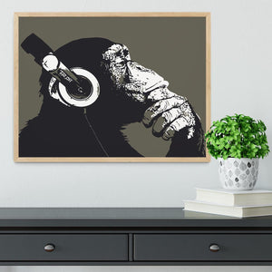 DJ Monkey Headphones Framed Print - Canvas Art Rocks - 4