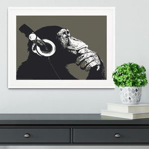 DJ Monkey Headphones Framed Print - Canvas Art Rocks - 5