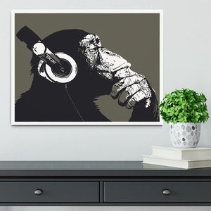 DJ Monkey Headphones Framed Print - Canvas Art Rocks -6