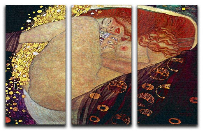 Danae by Klimt 3 Split Panel Canvas Print