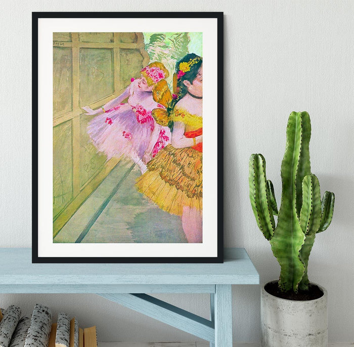 Dancers behind a backdrop by Degas Framed Print