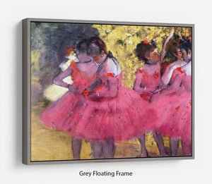 Dancers in pink between the scenes by Degas Floating Frame Canvas - Canvas Art Rocks - 3