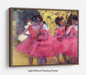 Dancers in pink between the scenes by Degas Floating Frame Canvas - Canvas Art Rocks 7