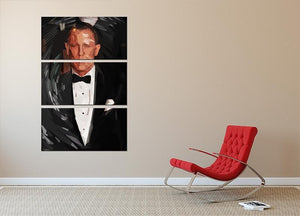 Daniel Craig James Bond Pop Art 3 Split Panel Canvas Print - Canvas Art Rocks - 2