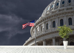 Dark sky over the US Capitol building Wall Mural Wallpaper - Canvas Art Rocks - 4