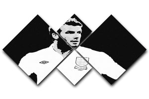 David Beckham Pop Art Black And White 4 Square Multi Panel Canvas  - Canvas Art Rocks - 1