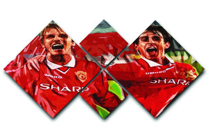 David Beckham and Gary Neville 4 Square Multi Panel Canvas  - Canvas Art Rocks - 1
